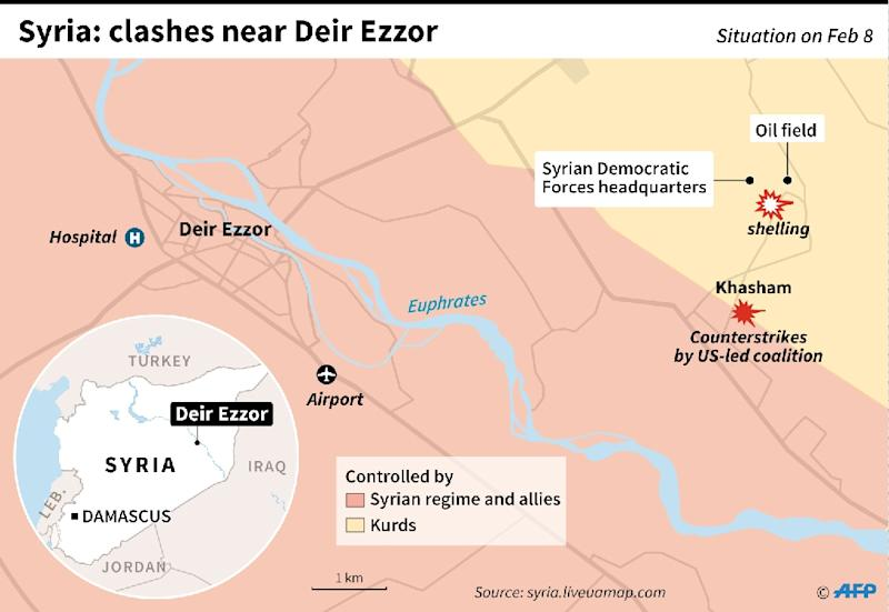 Map of Deir Ezzor, Syria, locating an attack against the Syrian Democratic Forces and a counterstrike by the US-led coalition that backs the group