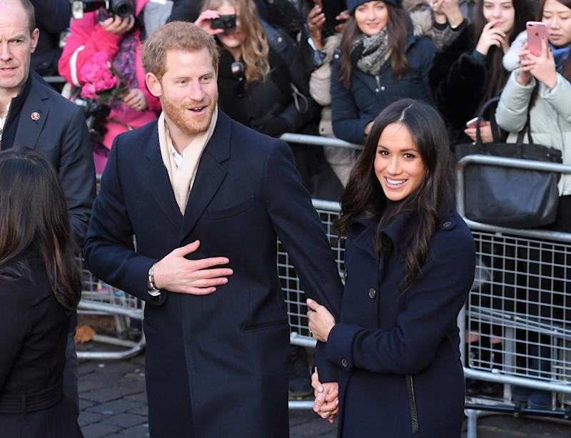 The newly engaged couple greet members of the British public in Nottingham, England, on Dec. 1, 2017. (Karwai Tang via Getty Images)