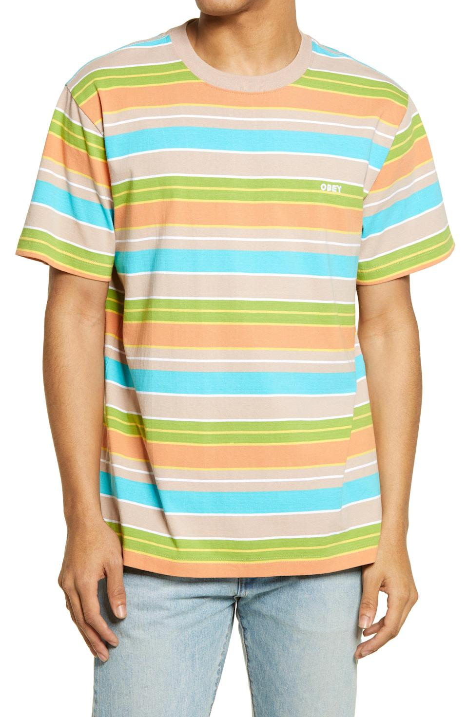 """<p><strong>Obey</strong></p><p>nordstrom.com</p><p><strong>$28.20</strong></p><p><a href=""""https://go.redirectingat.com?id=74968X1596630&url=https%3A%2F%2Fwww.nordstrom.com%2Fs%2Fobey-staple-stripe-t-shirt%2F5861283&sref=https%3A%2F%2Fwww.esquire.com%2Fstyle%2Fg36535194%2Fnordstrom-mens-sale-half-yearly-spring-2021%2F"""" rel=""""nofollow noopener"""" target=""""_blank"""" data-ylk=""""slk:Shop Now"""" class=""""link rapid-noclick-resp"""">Shop Now</a></p><p>Your T-shirt collection looking a little drab? This multicolored stripy one is sure to brighten things up. </p>"""