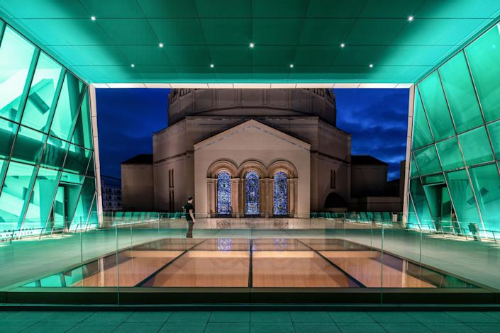 The terrace off the chapel offers framed views of the temple's stained-glass windows as well as the floor below.