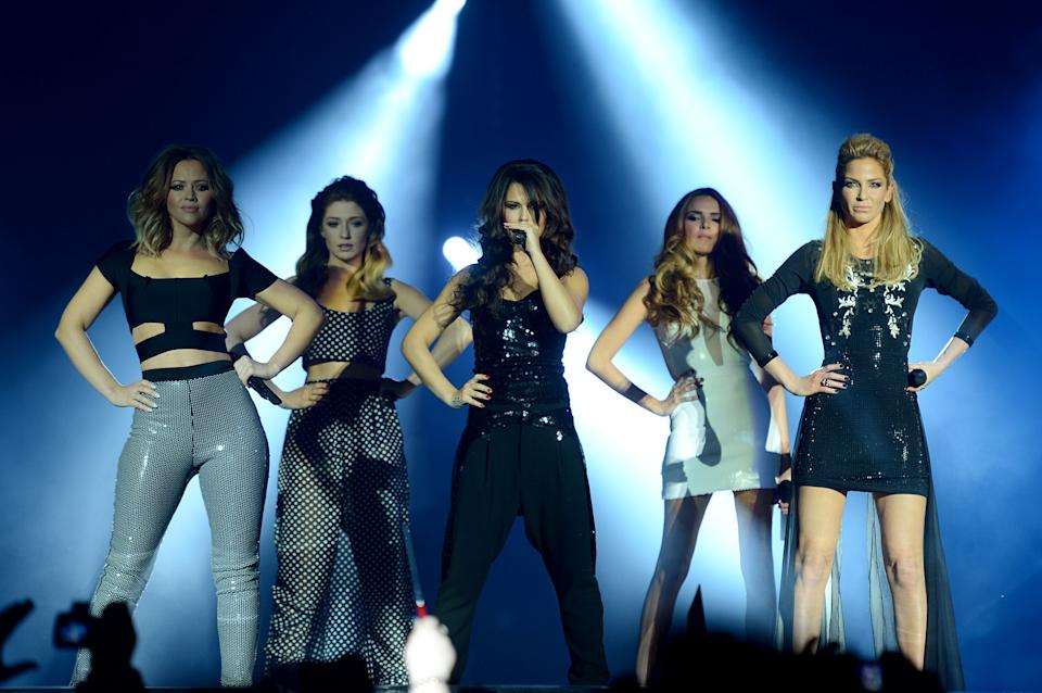 Girls Aloud on stage during the 2012 Capital FM Jingle Bell Ball at the O2 Arena, London.
