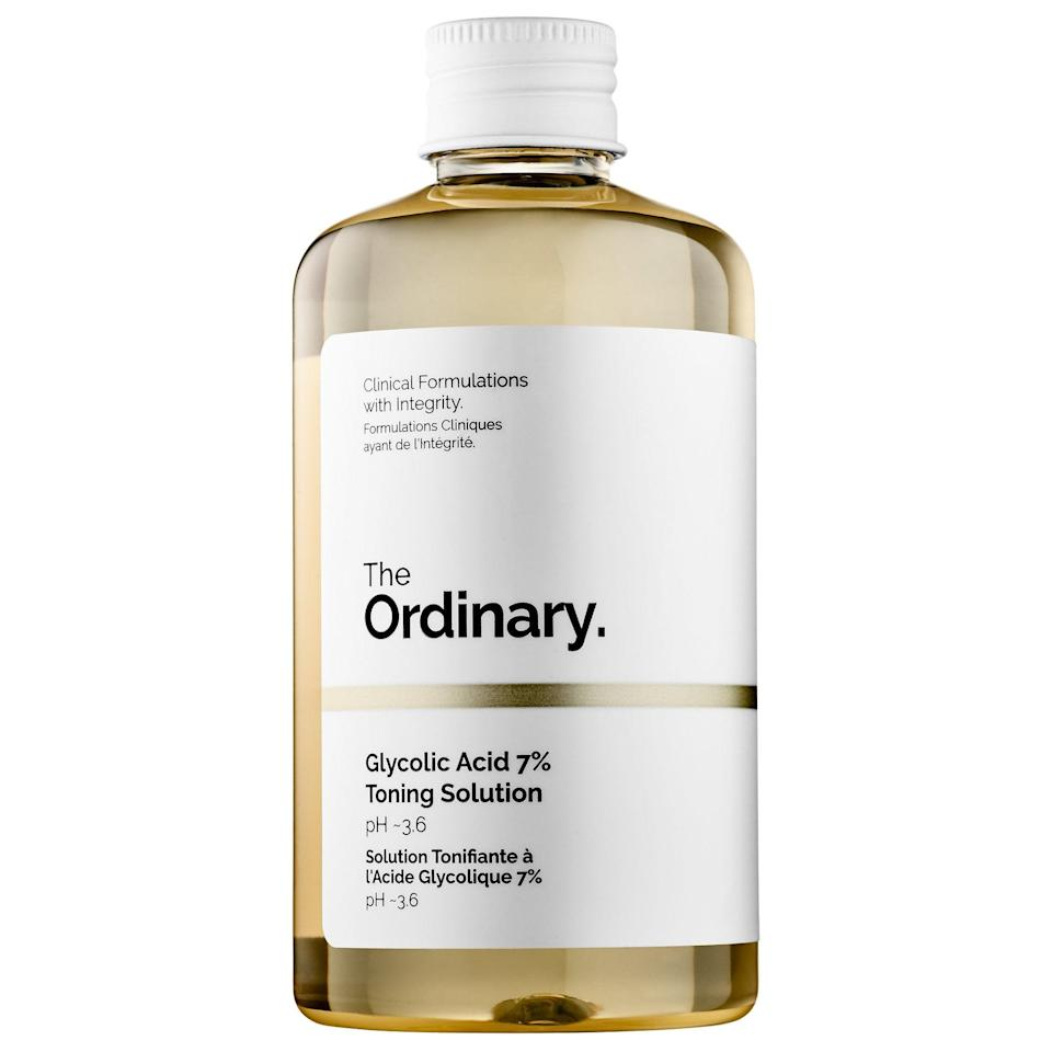 """<h2>Glycolic Acid Toning Solution</h2> <br><a href=""""https://www.refinery29.com/en-us/2018/03/194212/the-ordinary-skin-care-products-review"""" rel=""""nofollow noopener"""" target=""""_blank"""" data-ylk=""""slk:The Ordinary's affordable and fanbase-backed skincare"""" class=""""link rapid-noclick-resp"""">The Ordinary's affordable and fanbase-backed skincare </a>line is no shocking top-of-cart find — but, what makes this particular product stand out from The Ordinary pack is <a href=""""http://refinery29.com/en-us/2020/07/9848978/the-ordinary-glycolic-toner-review"""" rel=""""nofollow noopener"""" target=""""_blank"""" data-ylk=""""slk:a rave review from our Beauty & Wellness Writer"""" class=""""link rapid-noclick-resp"""">a rave review from our Beauty & Wellness Writer </a>who found surprising success when using it to treat her KP (<a href=""""https://www.refinery29.com/en-us/keratosis-pilaris-treatments"""" rel=""""nofollow noopener"""" target=""""_blank"""" data-ylk=""""slk:keratosis pilaris"""" class=""""link rapid-noclick-resp"""">keratosis pilaris</a>). Readers rushed to cart the under-$10 glycolic-acid miracle treatment that achieved her following reaction: """"I was shocked to see and feel my skin: it was touchably smoother and looked so much more even."""" <br><br><em>Shop <strong><a href=""""https://www.sephora.com/brand/the-ordinary"""" rel=""""nofollow noopener"""" target=""""_blank"""" data-ylk=""""slk:The Ordinary"""" class=""""link rapid-noclick-resp"""">The Ordinary</a></strong></em><br><br><strong>The Ordinary</strong> Glycolic Acid 7% Toning Solution, $, available at <a href=""""https://go.skimresources.com/?id=30283X879131&url=https%3A%2F%2Ffave.co%2F2CjYpSu"""" rel=""""nofollow noopener"""" target=""""_blank"""" data-ylk=""""slk:Sephora"""" class=""""link rapid-noclick-resp"""">Sephora</a><br><br><br>"""
