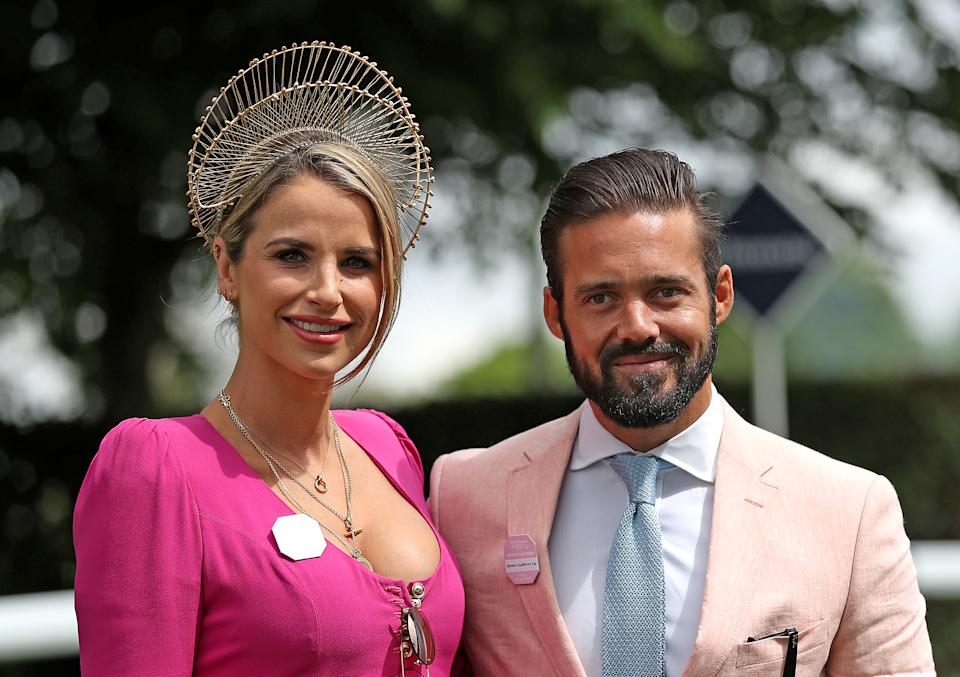 Vogue Williams and Spencer Matthews during ladies day of the 2018 Investec Derby Festival at Epsom Downs Racecourse, Epsom. (Photo by Steve Parsons/PA Images via Getty Images)