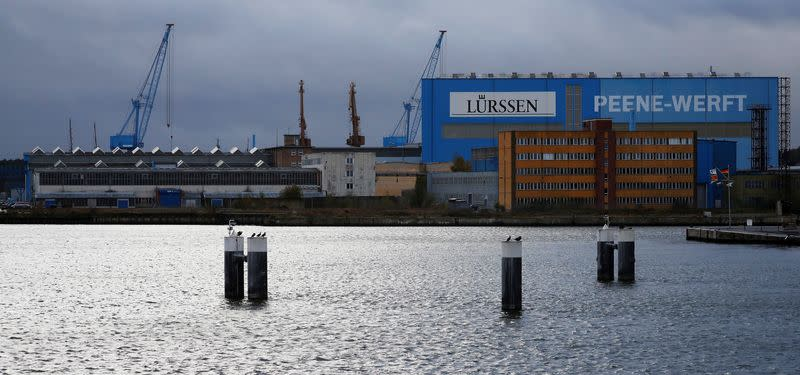 FILE PHOTO: The Luerssen Peene shipyard is pictured in Wolgast in Germany