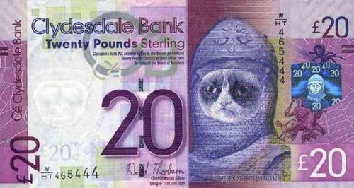 20 pound note with Grump Cat superimposed over it