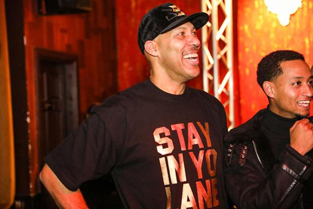 LaVar Ball sold T-shirts referencing sexist remarks he made toward a female media member. (Getty Images)
