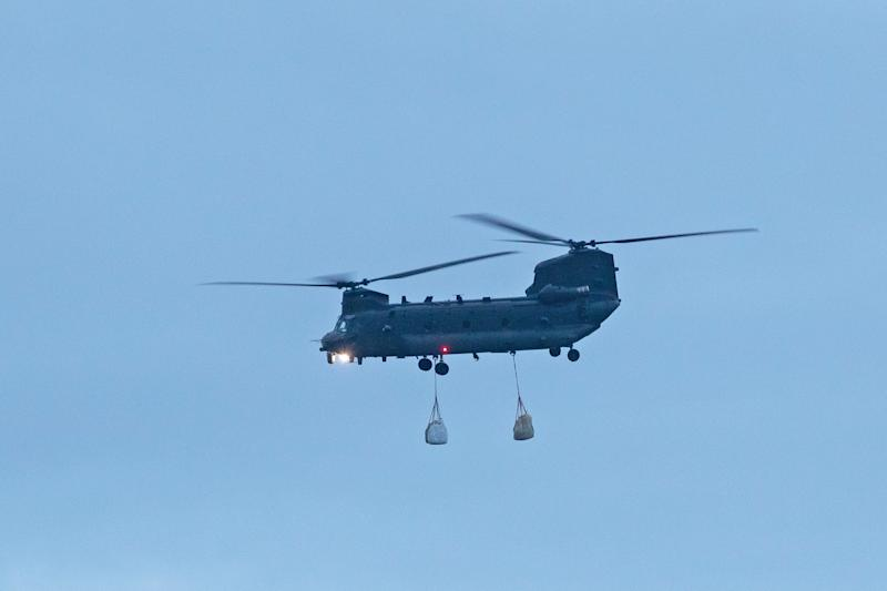 An RAF Chinook in Wainfleet All Saints, Lincolnshire (PA)