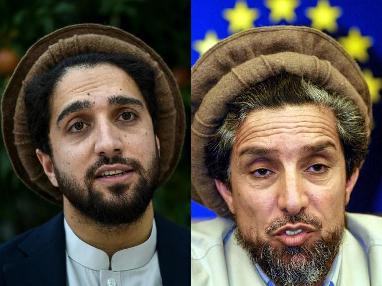 Following in the steps of his father (R), the younger Ahmad Massoud wants to build a grand coalition of anti-Taliban elements (AFP Photo/Wakil KOHSAR, Franck FIFE)