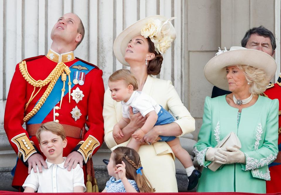 LONDON, UNITED KINGDOM - JUNE 08: (EMBARGOED FOR PUBLICATION IN UK NEWSPAPERS UNTIL 24 HOURS AFTER CREATE DATE AND TIME) Prince William, Duke of Cambridge, Catherine, Duchess of Cambridge, Prince Louis of Cambridge, Prince George of Cambridge, Princess Charlotte of Cambridge and Camilla, Duchess of Cornwall on the balcony of Buckingham Palace during Trooping The Colour, the Queen's annual birthday parade, on June 8, 2019 in London, England. The annual ceremony involving over 1400 guardsmen and cavalry, is believed to have first been performed during the reign of King Charles II. The parade marks the official birthday of the Sovereign, although the Queen's actual birthday is on April 21st. (Photo by Max Mumby/Indigo/Getty Images)