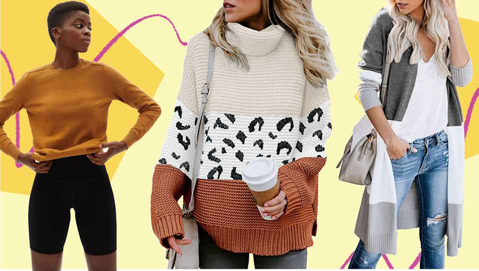 We found oversized, cropped and balloon sleeve sweaters, turtlenecks and cardigans under $60. (Photo: HuffPost)