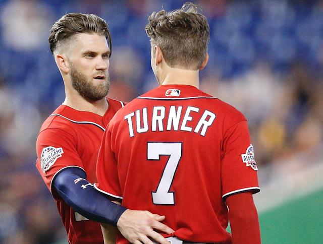 "<a class=""link rapid-noclick-resp"" href=""/mlb/players/10056/"" data-ylk=""slk:Trea Turner"">Trea Turner</a> managed to get thrown out on a walk, perfectly summing up <a class=""link rapid-noclick-resp"" href=""/mlb/teams/was"" data-ylk=""slk:Washington Nationals"">Washington Nationals</a> baseball in 2018. (AP)"