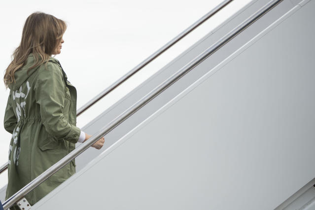 First lady Melania Trump boards a plane at Andrews Air Force Base in Maryland on June 21, 2018, to travel to Texas to visit the U.S.-Mexico border. (Andrew Harnik/AP)