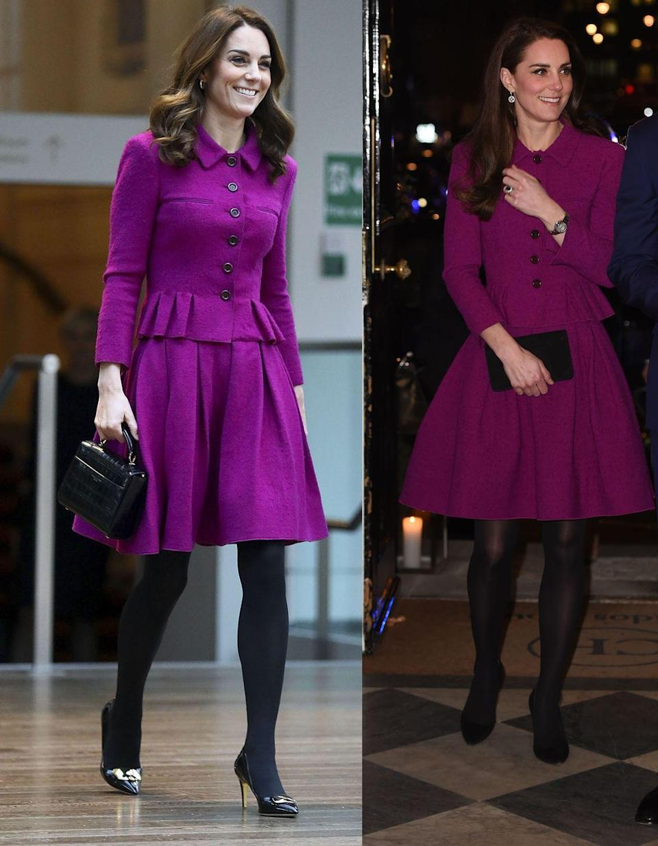 "<p>The Duchess of Cambridge rewore a fuchsia Oscar de la Renta skirt suit to <a href=""https://www.townandcountrymag.com/style/fashion-trends/a25906173/kate-middleton-royal-opera-house-oscar-de-la-renta-suit-photos/"" rel=""nofollow noopener"" target=""_blank"" data-ylk=""slk:visit the Royal Opera House"" class=""link rapid-noclick-resp"">visit the Royal Opera House </a>on Wednesday, January 16. She originally wore the look to a Guild of Health Writers conference with Prince William on February 6, 2017. </p>"