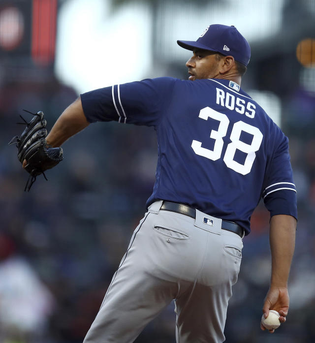 San Diego Padres pitcher Tyson Ross works against the San Francisco Giants during the first inning of a baseball game Thursday, June 21, 2018, in San Francisco. (AP Photo/Ben Margot)