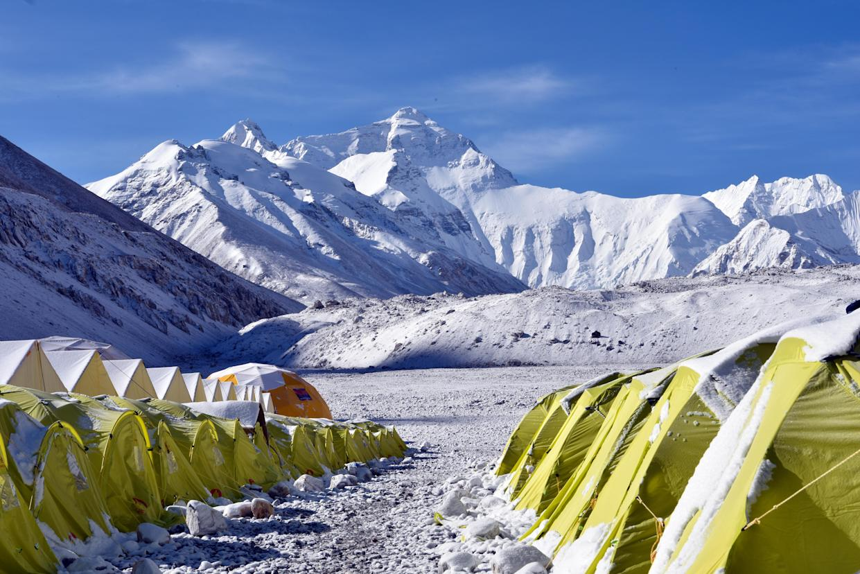 The view of camps arraying in the Everest Base Camp, rudimentary campsites at the base of Mount Everest that are used by mountain climbers during their ascent and descent, in Tingri county, Shigatse city, southwest China's Tibet Autonomous Region, 2 May 2020.