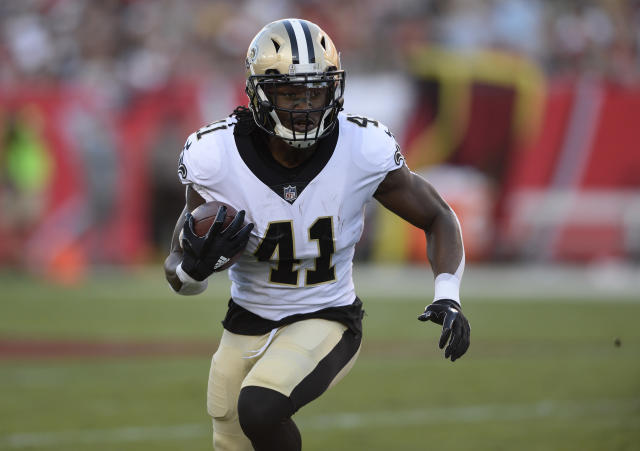 "<a class=""link rapid-noclick-resp"" href=""/nfl/players/30180/"" data-ylk=""slk:Alvin Kamara"">Alvin Kamara</a> has another big game and a look around the rest of the league (AP Photo)."
