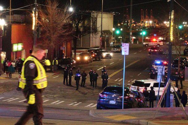 PHOTO: Tacoma Police and other law enforcement vehicles are shown near the site of a car crash, Jan. 23, 2021, in downtown Tacoma, Wash. (Ted S. Warren/AP)