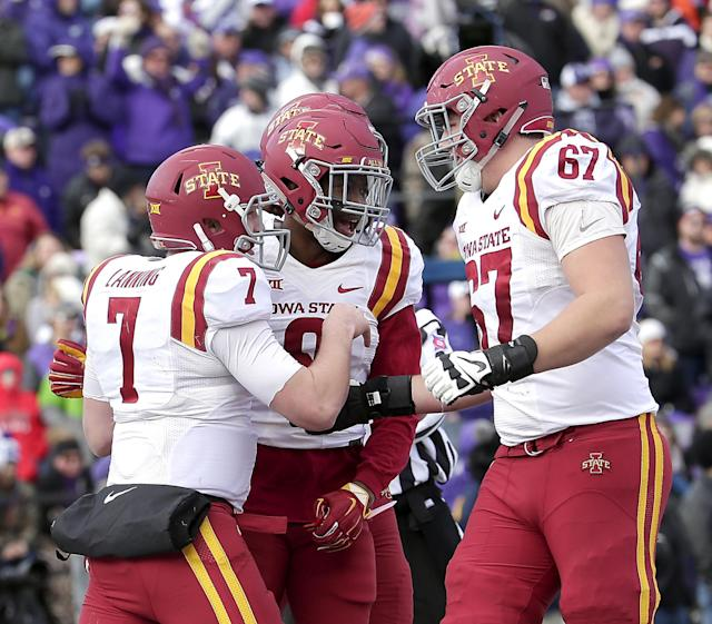 """Iowa State's <a class=""""link rapid-noclick-resp"""" href=""""/ncaaf/players/227145/"""" data-ylk=""""slk:Joel Lanning"""">Joel Lanning</a> (7) started 14 games at QB over the past two seasons. (AP Photo/Charlie Riedel)"""