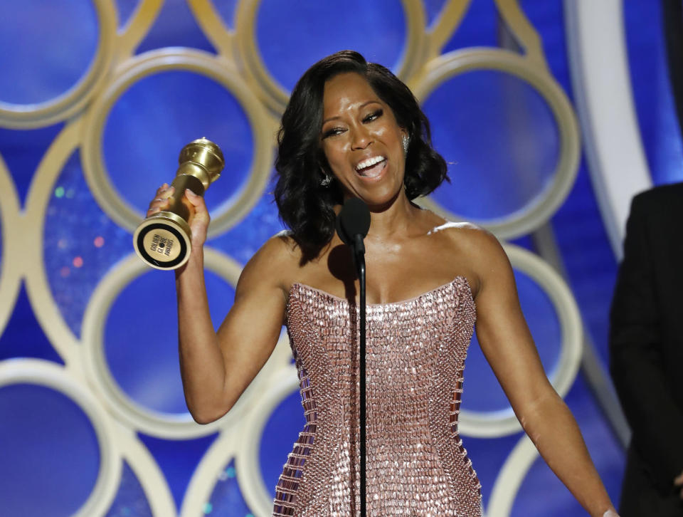 Regina King accepting a Golden Globe for her role in <em>If Beale Street Could Talk</em> (Photo: Paul Drinkwater/NBC via AP)