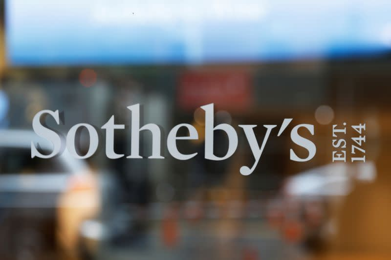 A sign marking Sotheby's headquarters is seen on the Upper East Side of New York City