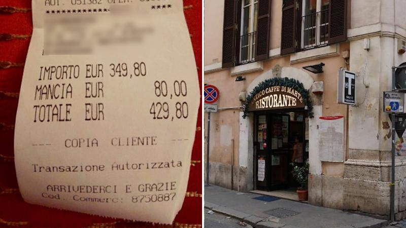 Two Japanese tourists paid almost $700 for their food at Rome restaurant Antico Caffe di Marte (right). On the left is their receipt.