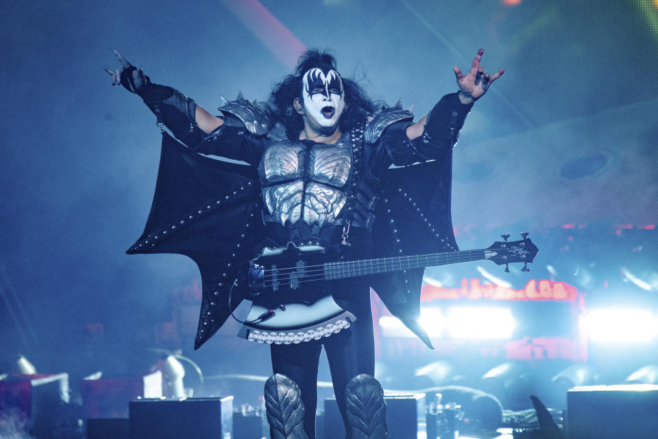 Gene Simmons of KISS performs at the Riverbend Music Center on Thursday, Aug. 29, 2019, in Cincinnati. (Photo by Amy Harris/Invision/AP)