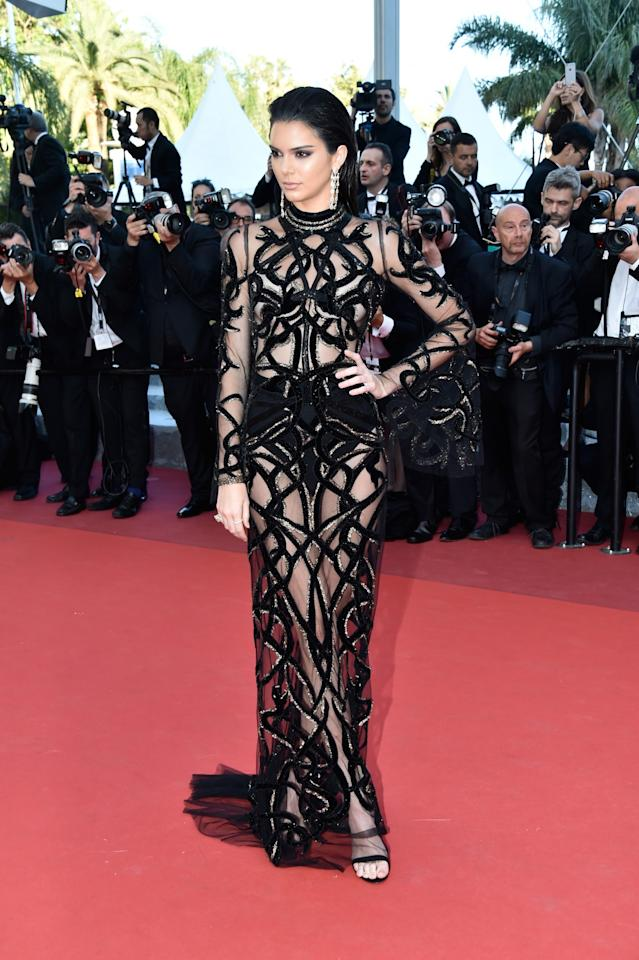 <p>Dressed in a Roberto Cavalli dress at the 2016 edition of Cannes Film Festival, Kendall put almost everything on display. [Photo: Getty] </p>