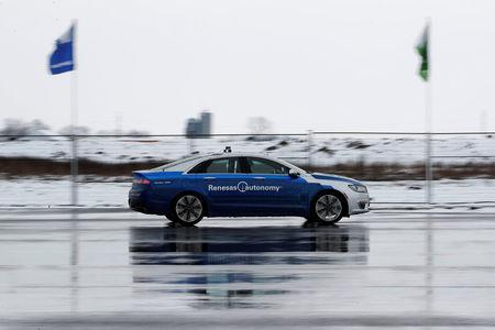 Self-driving car drives at the Renesas Electronics autonomous vehicle test track in Stratford