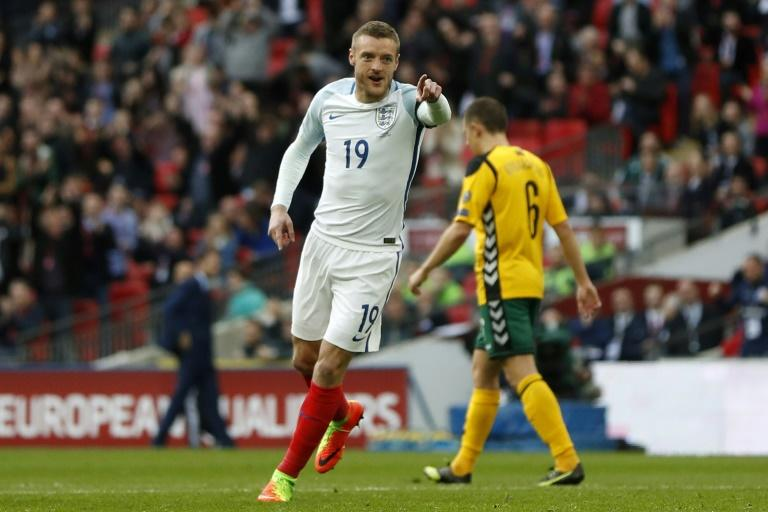 England's striker Jamie Vardy celebrates after scoring against Lithuania at Wembley Stadium in London on March 26, 2017