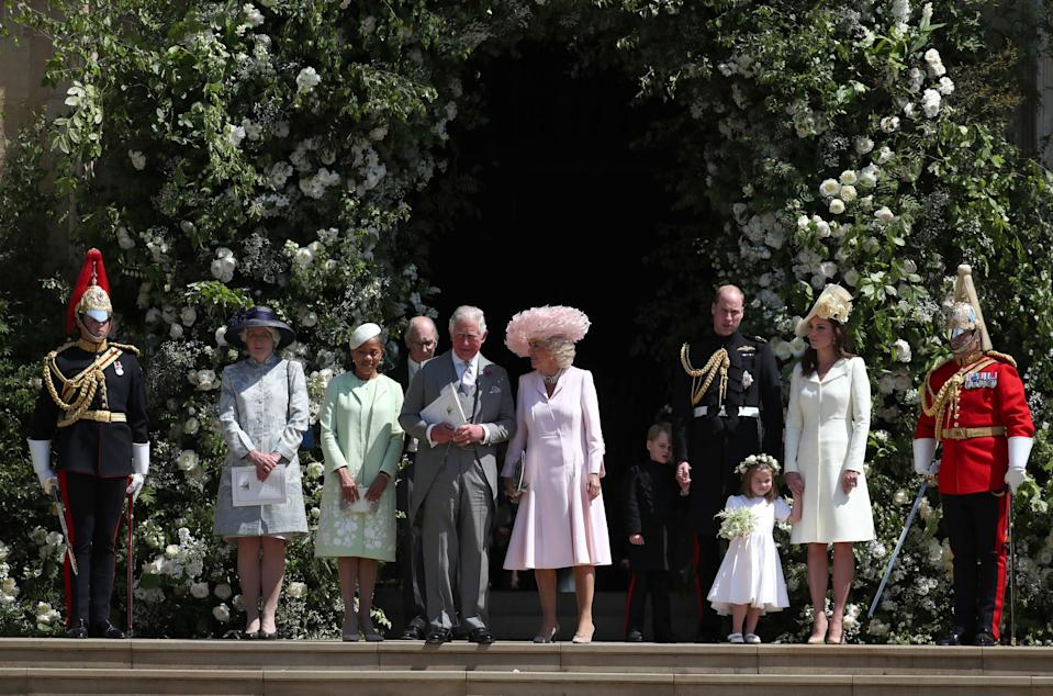 <p>Prince Charles accompanied Meghan's mother, Doria, after the ceremony. (Getty) </p>