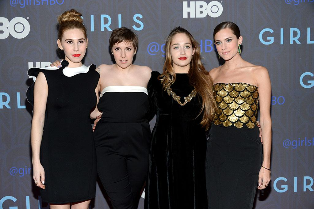 "Zosia Mamet, Lena Dunham, Jemima Kirke  and Allison Williams attend HBO's premiere of ""Girls"" Season 2 at the NYU Skirball Center on January 9, 2013 in New York City."