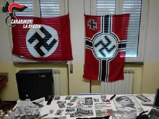 A handle out photo from police showing then neo-Nazi's lair: Carabinieri de La Spezia