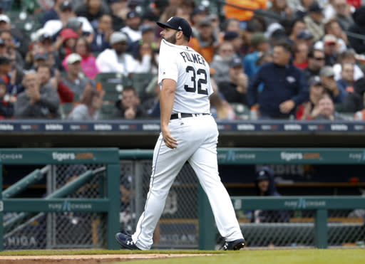 Detroit Tigers pitcher Michael Fulmer walks to the dugout after being pulled in the seventh inning of a baseball game against the St. Louis Cardinals in Detroit, Sunday, Sept. 9, 2018. (AP Photo/Paul Sancya)