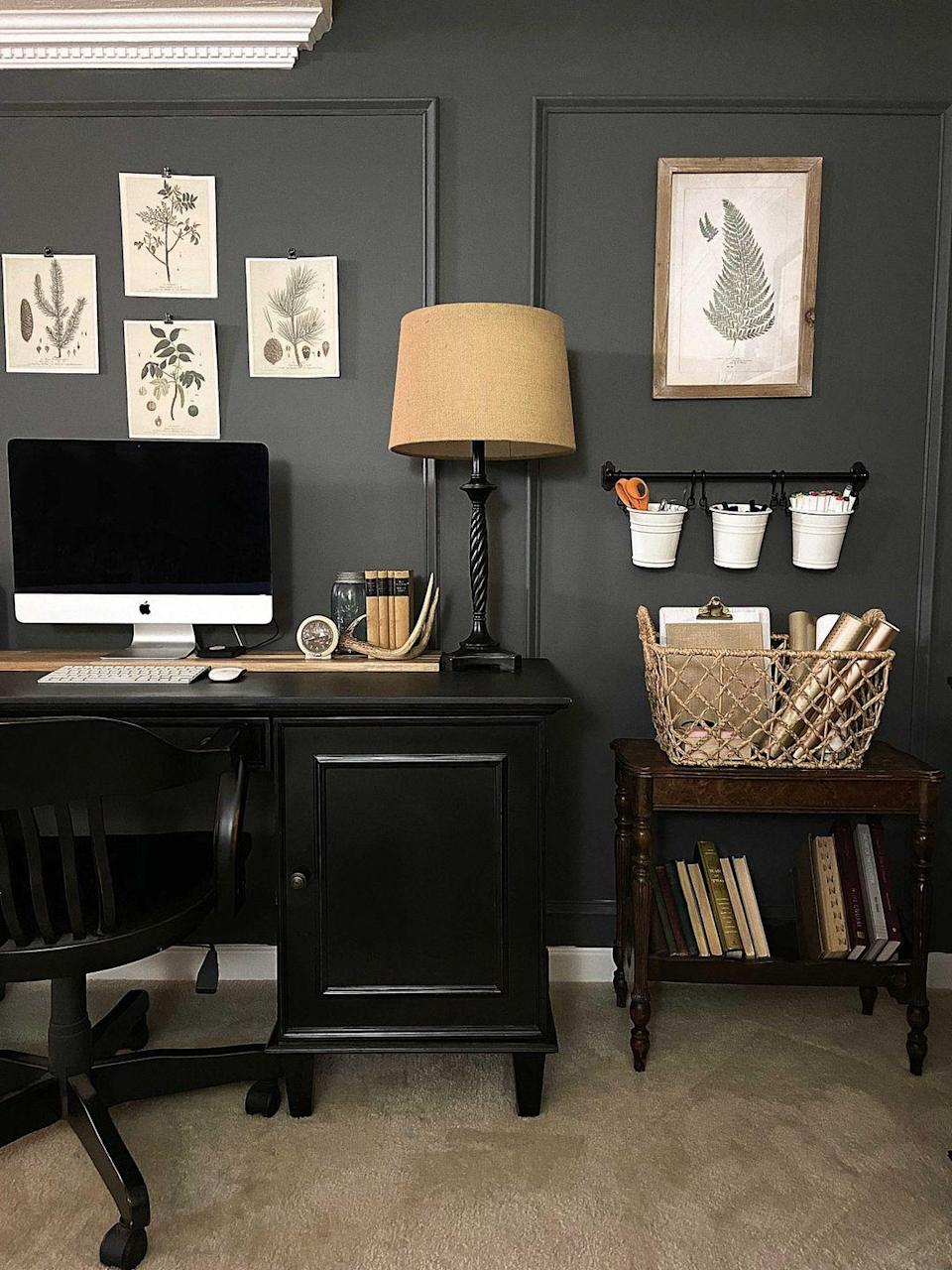 """<p>Working (or crafting!) from home without a defined workspace can make your job feel way more stressful. Enter this sophisticated basement office/craftroom, which features an accent wall in a soothing stone tone. </p><p><strong>See more at <a href=""""https://www.snazzylittlethings.com/accent-wall-ideas/"""" rel=""""nofollow noopener"""" target=""""_blank"""" data-ylk=""""slk:Snazzy Little Things"""" class=""""link rapid-noclick-resp"""">Snazzy Little Things</a>. </strong></p><p><a class=""""link rapid-noclick-resp"""" href=""""https://go.redirectingat.com?id=74968X1596630&url=https%3A%2F%2Fwww.walmart.com%2Fip%2FGlidden-One-Coat-Interior-Paint-Primer-Stepping-Stone%2F289554052&sref=https%3A%2F%2Fwww.redbookmag.com%2Fhome%2Fg36061437%2Fbasement-ideas%2F"""" rel=""""nofollow noopener"""" target=""""_blank"""" data-ylk=""""slk:SHOP PAINT"""">SHOP PAINT</a></p>"""
