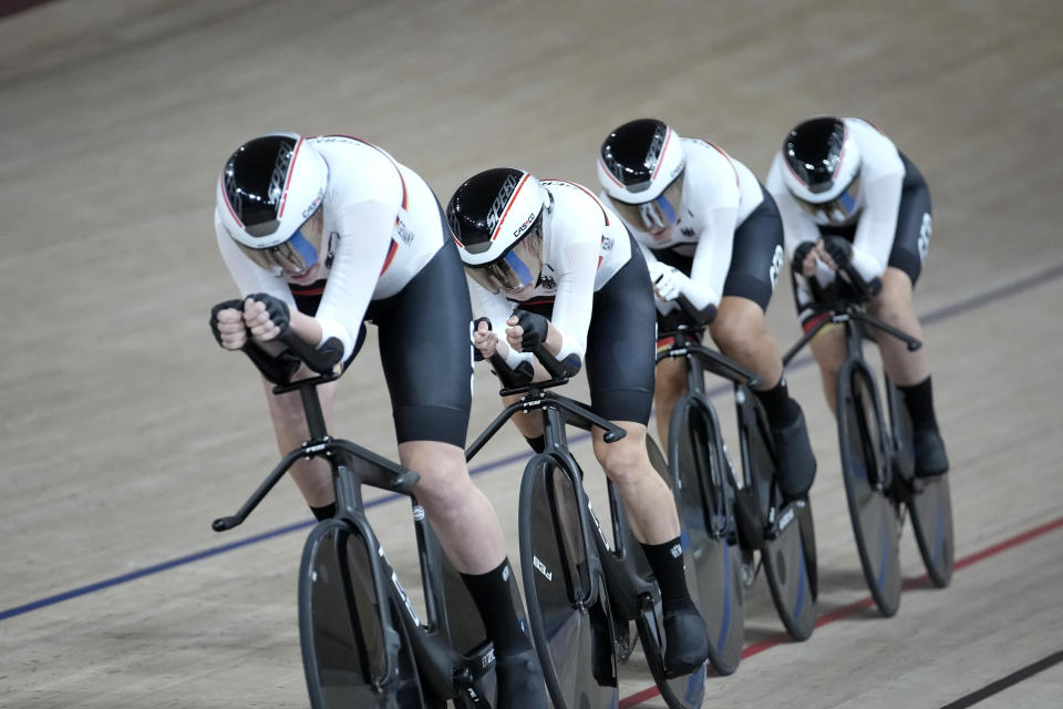 Team Germany competes during a qualifying heat for track cycling women's team pursuit at the 2020 Summer Olympics, Monday, Aug. 2, 2021, in Izu, Japan. (AP Photo/Christophe Ena)