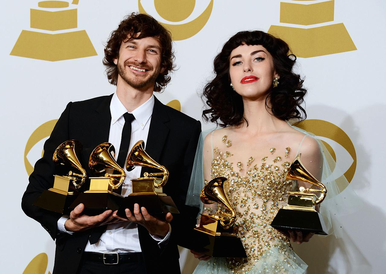 Gotye and Kimbra Johnson, winners of Best Pop Duo/Group Performance, Best Alternative Music Album and Record of The Year, pose in the press room at the 55th Annual GRAMMY Awards at Staples Center on February 10, 2013 in Los Angeles, California.  (Photo by Jason Merritt/Getty Images)