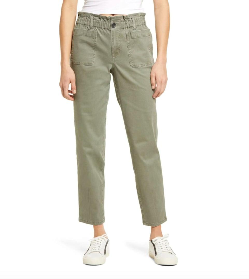 <p>With exaggerated pockets, a ruched waist, and twill material, these <span>1822 Denim Paperbag Waist Ankle Pants</span> ($49) will take you from errands to brunch - and beyond. </p>