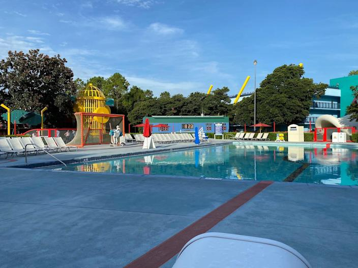 """A view of """"The Might Ducks"""" pool at Disney World's All-Star Movies resort."""