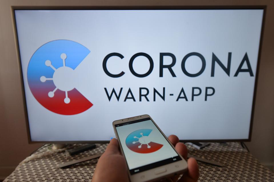 Corona-Warn-App photo illustration. Germany launched a new coronavirus tracking app.  Corona Warn App alerts users when they have been in contact with someone who has tested positive. The app uses Bluetooth radio technology, which is otherwise used to control wireless speakers, keyboards or other devices. On  June 17, 2020, in Krakow, Poland. (Photo Illustration by Artur Widak/NurPhoto via Getty Images)