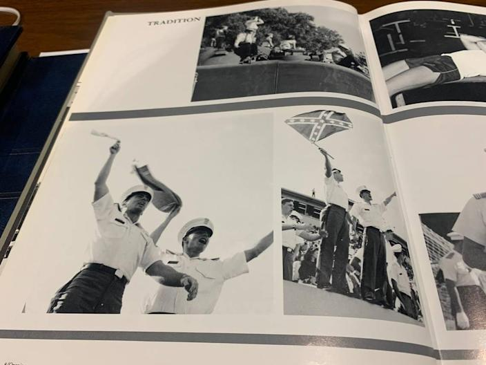 A photospread in The Citadel's 1988 Sphinx yearbook shows unidentified cadets waving towels and a Confederate battle flag in the stands of a home football game.