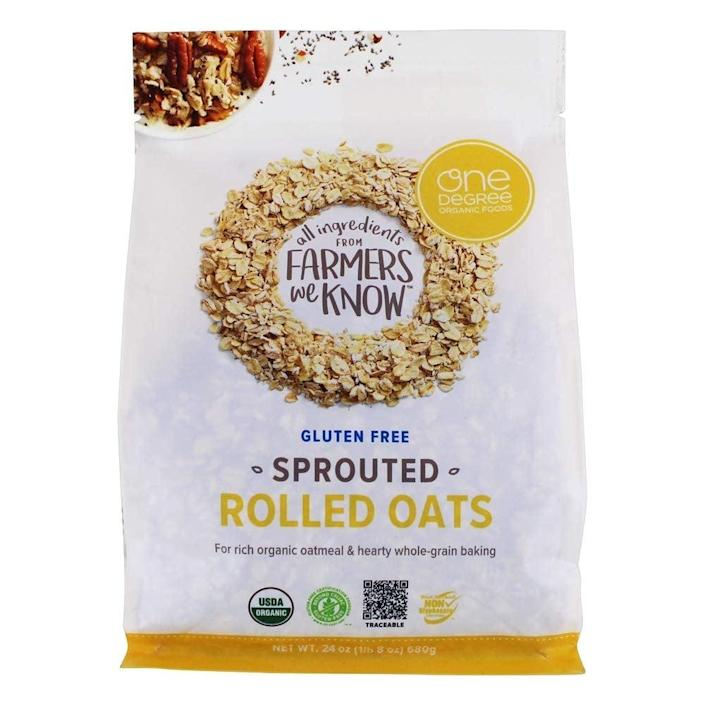 """<p>""""I've been really into oatmeal for breakfast lately because it keeps me full for hours, and I'm in love with these <span>One Degree Sprouted Rolled Oats</span> ($7). Not only do they have a softer, fluffier texture than regular rolled oats, they also offer slightly more protein. They're delicious as <a href=""""https://www.popsugar.com/fitness/Overnight-Oats-Recipes-40240933"""" class=""""link rapid-noclick-resp"""" rel=""""nofollow noopener"""" target=""""_blank"""" data-ylk=""""slk:overnight oats"""">overnight oats</a> or cooked on the stove, and I also love grinding them into oat flour to make <a href=""""https://www.popsugar.com/fitness/sugar-free-vegan-blueberry-muffins-48098016"""" class=""""link rapid-noclick-resp"""" rel=""""nofollow noopener"""" target=""""_blank"""" data-ylk=""""slk:muffins"""">muffins</a>, quick breads, and <a href=""""https://www.popsugar.com/fitness/healthy-vegan-sugar-free-gluten-free-chocolate-cake-48140834"""" class=""""link rapid-noclick-resp"""" rel=""""nofollow noopener"""" target=""""_blank"""" data-ylk=""""slk:chocolate cake"""">chocolate cake</a>. I even saw a huge bag at Costco!"""" - JS</p>"""
