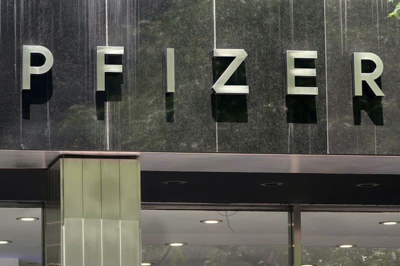 FILE PHOTO: A Pfizer sign is pictured at their Headquarters in the Manhattan borough of New York City