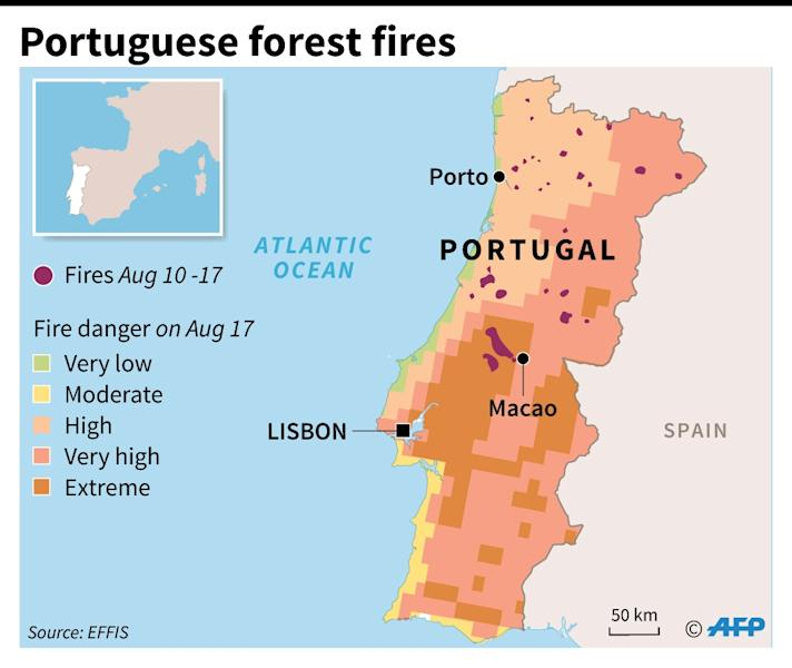 Map locating Portuguese forest fires in the past week and the fire risk scale for the country as of August 17 (AFP Photo/Simon MALFATTO)