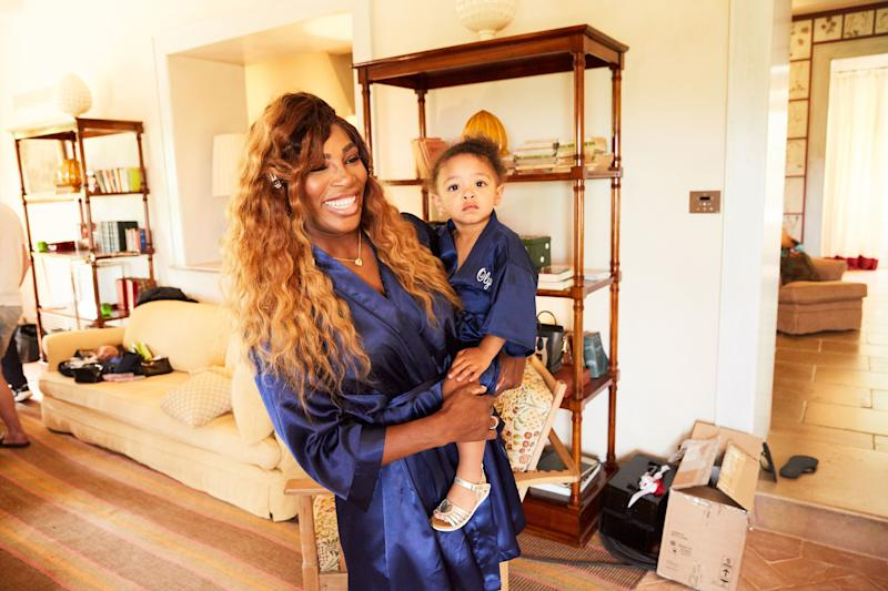 Serena Williams and her daughter Olympia Ohanian in their matching robes.