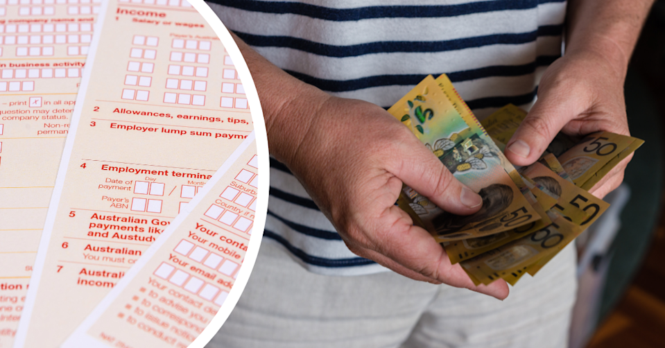 Australian ATO tax return forms and a man holding Aussie $50 notes