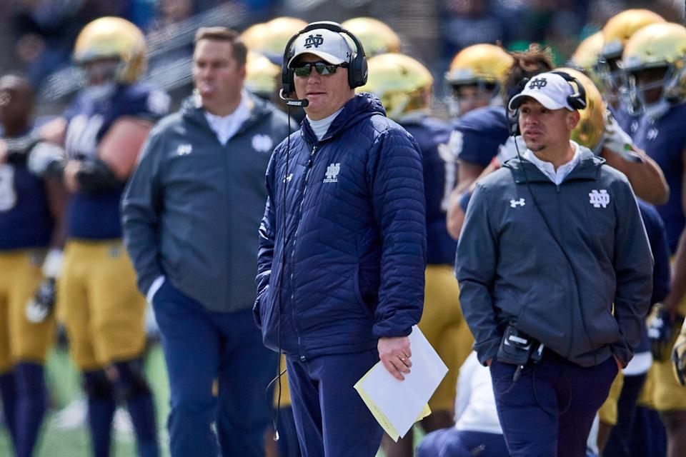 Notre Dame offensive coordinator Chip Long looks on during a game on April 13, 2019. (Robin Alam/Icon Sportswire via Getty Images)