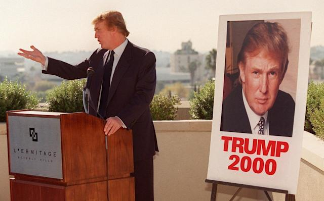 <p>Trump made a media stop atop a Beverly Hills hotel, Dec. 6, 1999. The potential Reform Party presidential candidate was in Southern California to address party leaders and test the political waters. <i>(Photo: Chris Pizzello/AP)</i> </p>