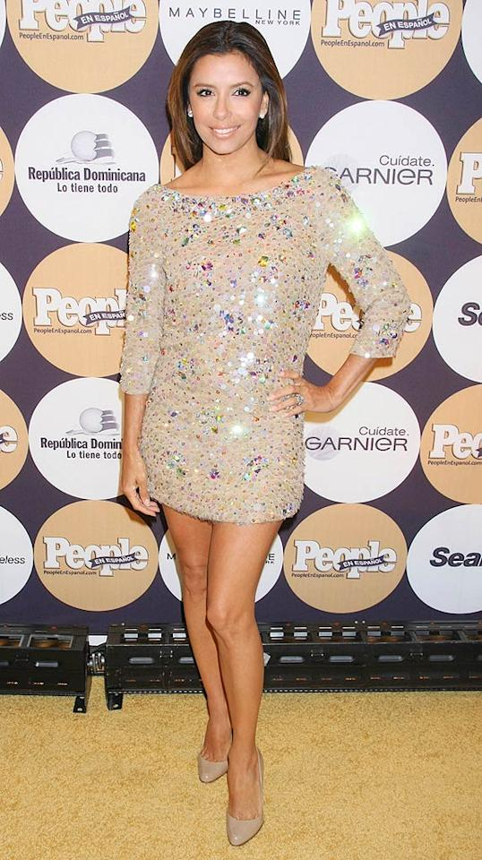 """Eva Longoria solidified her spot at People En Espanol's """"50 Most Beautiful People"""" party in an embellished Blumarine mini and nude Christian Louboutin pumps. Dara Kushner/<a href=""""http://www.infdaily.com"""" target=""""new"""">INFDaily.com</a> - May 13, 2009"""