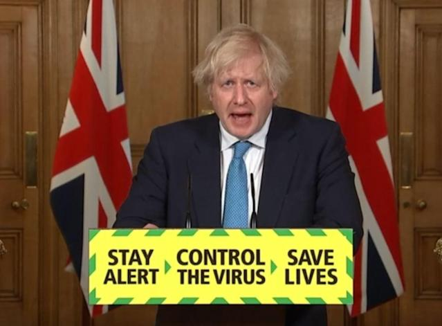 The potential relaxing of the two-metre social distancing rule is fraught with political difficulties for Boris Johnson. (PA Video/PA Images via Getty Images)