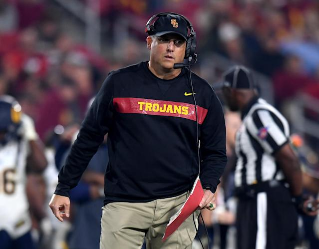 """Head coach Clay Helton of the <a class=""""link rapid-noclick-resp"""" href=""""/ncaaf/teams/usc/"""" data-ylk=""""slk:USC Trojans"""">USC Trojans</a> during a 15-14 loss to the <a class=""""link rapid-noclick-resp"""" href=""""/ncaaf/teams/california/"""" data-ylk=""""slk:California Golden Bears"""">California Golden Bears</a> at Los Angeles Memorial Coliseum on November 10, 2018 in Los Angeles, California. (Photo by Harry How/Getty Images)"""